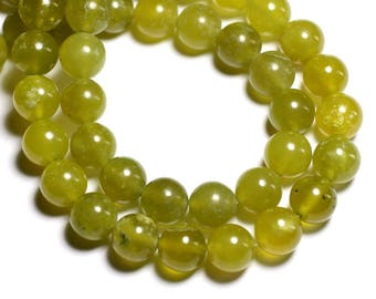 10pc - stone beads - natural olive Jade beads 10mm - 4558550018427