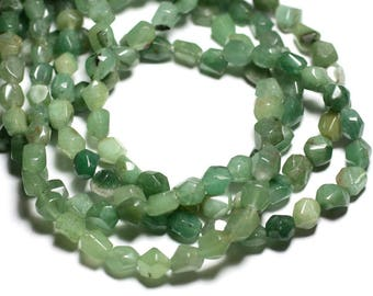 10pc - stone beads - green Aventurine faceted Nuggets 7-10mm - 4558550084682