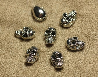 2PC - skulls, silver Metal skull beads 13mm 4558550022646 Rhodium