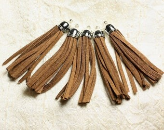 3PC - Chocolate Suede tassel and Metal Silver 68 mm 4558550009753