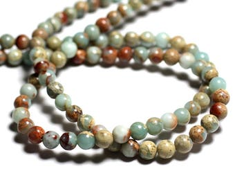 10pc - stone beads - Jasper Aqua Terra balls 6mm 4558550025753