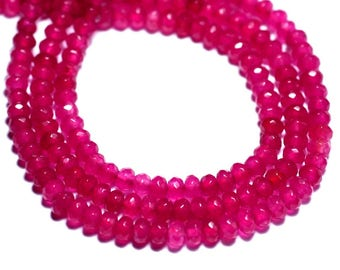 30pc - stone beads - Jade faceted Rondelle 4x2mm pink neon Fuchsia - 8741140008144