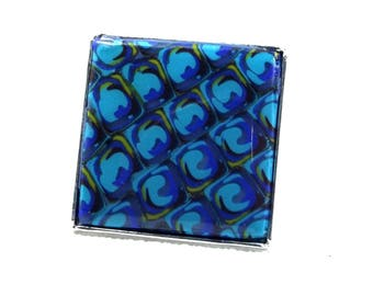 Blue and turquoise square ring on silver color frame
