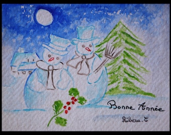 Original illustration painted in watercolor on ARCHES 300 g/m²carte greetings happy new year!