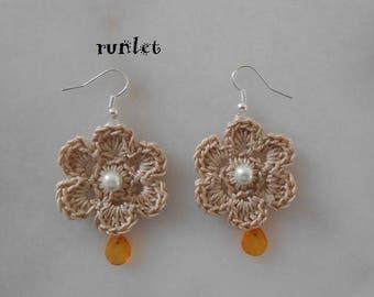 lace  crochet flower Earrings