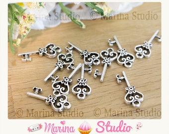 5 Silver key charms 21x9mm Tibetan