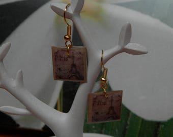Lille in Paris dangle earrings in metal gold