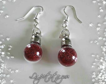 Earrings glass phial with sequins and beads