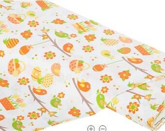 """1mx1m """"bird & eggs"""" cotton fabric, orange multicolor"""