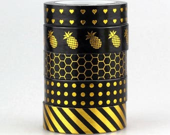 Set of 5 cute gold/black masking/washi tape rolls