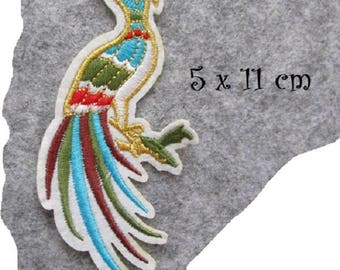 PATCH PATCH - Bird Phoenix multicolored feather * 5 x 11 cm * embroidered patch Applique