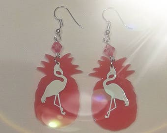 Earrings pineapple and Flamingo Pink and white