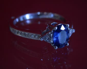 OOAK Handmade Blue Sapphire Diamond Ring (FREE Custom Sizing Available)