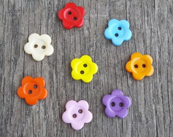 Set of 5 flowers 14mm orange pink beige purple yellow blue red buttons