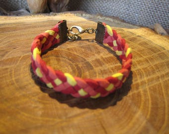 5 strands of Suede, red, orange and yellow braided bracelet