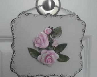 Handmade Pink Porcelain Rose Figure with Frame Capodimonte