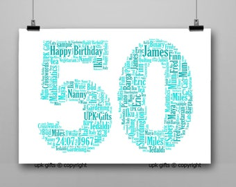 Personalised Gift Printable Word Art Age, 50th Birthday, Anniversary,  Sister, Brother, Wife, Husband Any Age Available 1,16,18,21,30,40,60