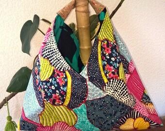 Handbag - reversible origami Bento bag - Tote
