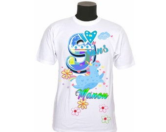 t-shirt kids birthday personalized with number and name choice ref year 06