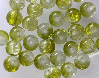 Set of 5 round Crackle glass beads
