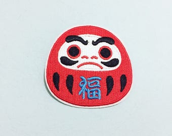 Daruma Patch - Iron on Patch, Sew On Patch, Embroidered Patch