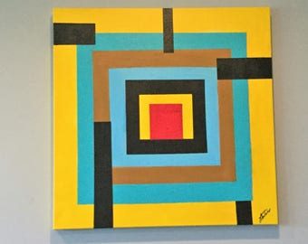 """Boxed In - Abstract Acrylic Painting Fine Art Teal, Yellow on Stretched Canvas 30"""" x 30"""""""