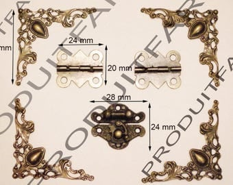 Lot hinge + protective corners clasps Bronze casket box jewelry screw included