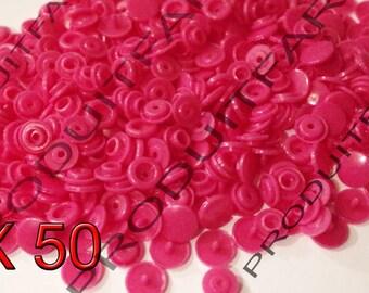 Set of 50 snap resin Kam T5 color Rose 12 mm