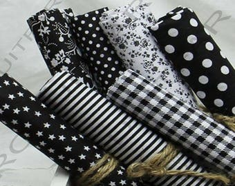 Set of 7 Coupons from cotton fabric 45 x 50 cm black sewing Patchwork