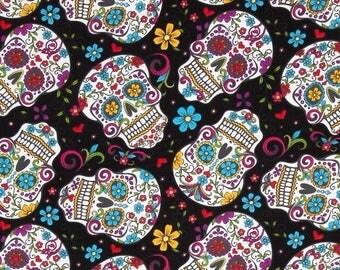 Black skull head Folkloric Skulls patchwork fabric