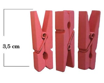Mini clothespin color pink wooden 3.5 cm set of 3 pieces