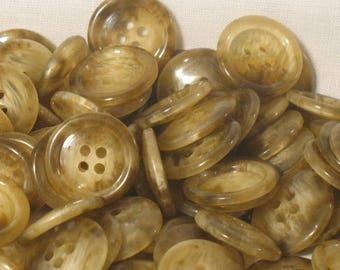 150 buttons classics, destash, 20 mm in diameter, beige/Brown clear