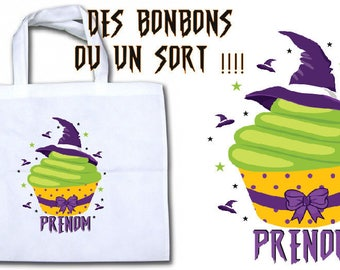 "BAG has candy ""halloween cupcake"" personalized"