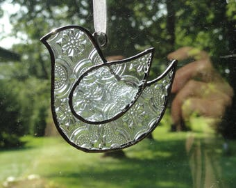 Stained Glass Bird Suncatcher, Clear Vintage
