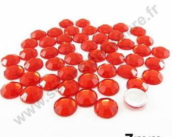 Paste rhinestone round - red - 7mm - x 50pcs