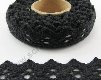 Fabric adhesive tape - Black Lace Trim - 17mm x 2.5 m