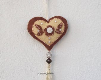 embroidered Brown and cream felt heart