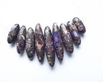 set of 9 purple sea sediment Jasper pieces FLORA-114