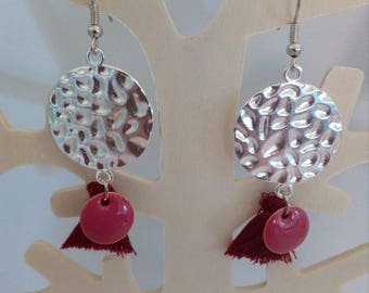 hammered round connector Pompom and sequin earrings