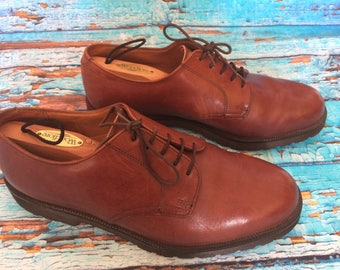 Vintage st michael tan brown leather oxford lace up shoes size Eur 41 Uk 7.5