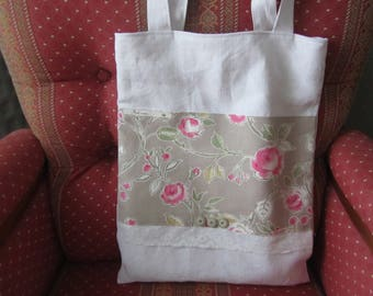 Great old cotton canvas laundry bag floral appliqué.
