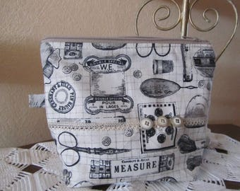 """Small Kit """"couture"""" print and lined cotton canvas fabric"""