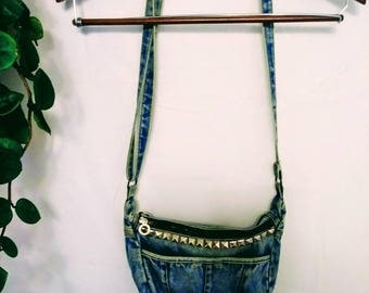 Denim Studded Cross Body Bag
