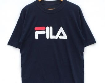 Vintage 90s Dark Blue Fila Big Logo/ Spell Out/ T-shirt