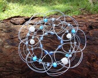Upcycled Blue White Wire Mandala