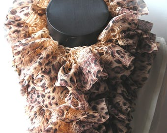Scarf made chiffon hand printed Panther it measures 120 cm.