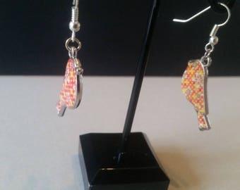 Dangling earrings - bird - Orange
