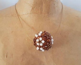 Brown burgundy ball shape Swarovski Crystal pendant