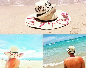 personalised beach hat , summer hat, kids hat, bags, mrs beach hat,bachelorette, bride gift, personalized bag