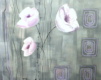 White flowers. 60cm x 60cm. Oil paint.